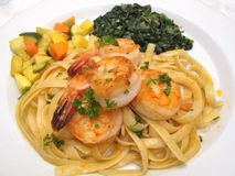 Shrimp, Pasta and Vegetables Royalty Free Stock Image