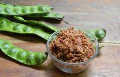 Shrimp paste chili sauce with mango and Thai flat bean Royalty Free Stock Photo