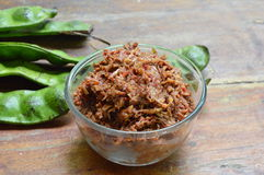 Shrimp paste chili sauce with mango and Thai plat bean Royalty Free Stock Photography