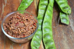 Shrimp paste chili sauce with mango and Thai plat bean Stock Image