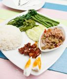 Shrimp paste chilli sauce set, native Thai style food Stock Photography