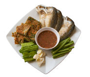 Shrimp paste chilli sauce. With side dish x Royalty Free Stock Photo