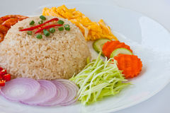 Shrimp paste friend rice Stock Image
