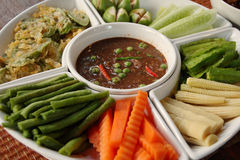 Shrimp paste sauce and mixed vegetables. Thai cuisine Stock Photography
