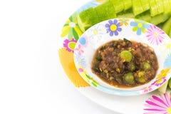 Shrimp Paste Sauce with solanum torvum and cucumber in small dis. H Stock Photo