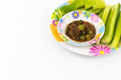 Shrimp Paste Sauce with solanum torvum and cucumber in small dis. H isolated Stock Photos