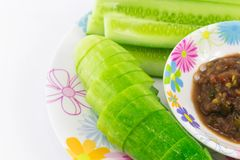 Shrimp Paste Sauce with solanum torvum and cucumber in small dis. H isolated Stock Image