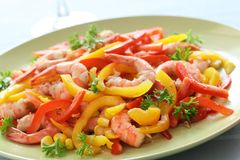 Shrimp with pepper and corn Stock Images