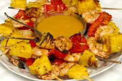 Shrimp pepper pineapple skewers Stock Images