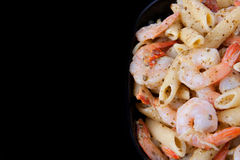 Shrimp pesto with copyspace Royalty Free Stock Image
