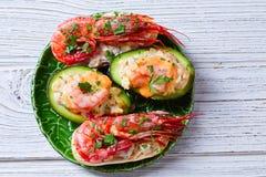 Shrimp pinchos with avocado Spain tapas Stock Image
