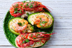 Shrimp pinchos with avocado Spain tapas Royalty Free Stock Photo