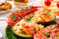 Shrimp pinchos with avocado Spain tapas Royalty Free Stock Photography