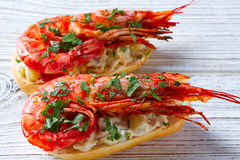 Shrimp pinchos with seafood Spain tapas Stock Images