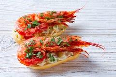 Shrimp pinchos with seafood Spain tapas Royalty Free Stock Photos