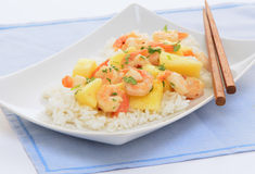 Shrimp and pineapple stirfry Royalty Free Stock Image