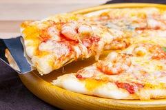 Shrimp pizza. Freshly baked pizza with shrimps Royalty Free Stock Image