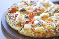 Shrimp pizza or wholewheat pizza Royalty Free Stock Image