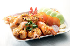 Shrimp on plate Stock Photos