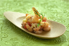 Shrimp plate on green Stock Photos
