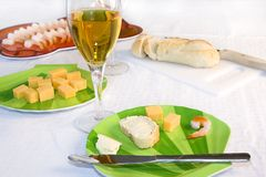 Shrimp Plate with Sliced Bread and Cocktail Set Royalty Free Stock Photography