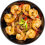 Shrimp in a plate on white background Stock Photos