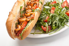 Shrimp Po-Boy Sandwich. With Rocket and Cherry Tomatoes Royalty Free Stock Photography