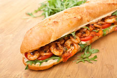Shrimp Po-Boy Sandwich. With Rocket and  Tomatoes Royalty Free Stock Image