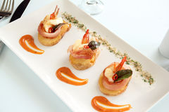Shrimp On Potato Stock Image