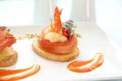 Shrimp On Potato Stock Images