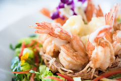 Shrimp and Potato Salad Royalty Free Stock Photos