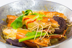 Shrimp potted with vermicelli Stock Photo