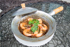 Shrimp potted with. Vermicelli in Thailand Royalty Free Stock Photo