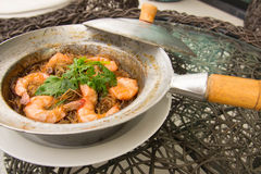 Shrimp potted with. Vermicelli in Thailand Royalty Free Stock Images