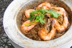Shrimp potted with. Vermicelli in Thailand Stock Photos