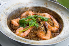 Shrimp potted with. Vermicelli in Thailand Royalty Free Stock Photography