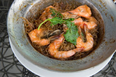 Shrimp potted with. Vermicelli in Thailand Stock Images