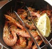 Shrimp prawn in a bowl with lemon slice. Shrimps prawns served in a bowl with a slice of lemon Royalty Free Stock Photo