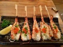 Grilled Garlic Shrimp Skewers royalty free stock photo