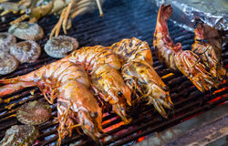Shrimp, prawn seafood in BBQ Flames Royalty Free Stock Photo