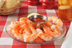 Shrimp prawns with cocktail sauce Stock Photo
