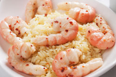 Shrimp prawns with cooked rice Stock Photo