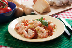 Shrimp prawns with cooked rice Royalty Free Stock Photography