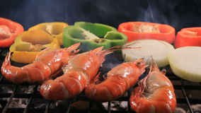 Shrimp ,prawns grilled on barbeque stove stock video footage