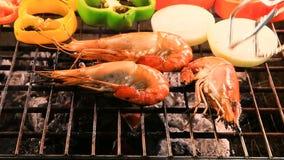 Shrimp ,prawns grilled on barbeque stove stock video