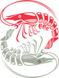 Shrimp raw cooked. Illustration clip-art vector eps Royalty Free Stock Image