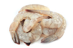 Shrimp raw. Over white. Deveined ready to cook Royalty Free Stock Photo