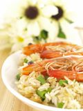 Shrimp rice #1. Shrimp rice with beans on dining table Royalty Free Stock Photo