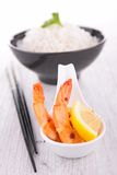 Shrimp and rice Stock Photos