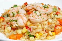 Shrimp and rice. Dish with carrots and corn royalty free stock photo